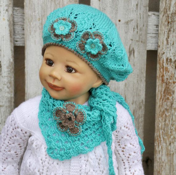 Knitted set  Children's hat cap with the scarf Gils Knit Spring Hat BeretTurquoise brown flower soft lovely warm cozy Children 3-6 years