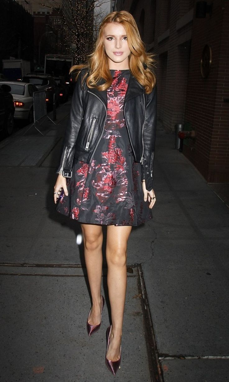 Bella Thorne.. Alice + Olivia Jorah Box Pleat Dress, AllSaints Balfern Leather Biker Jacket, and Carvela Kurt Geiger Pink Gunning Metallic Courts..... - Celebrity Fashion Trends