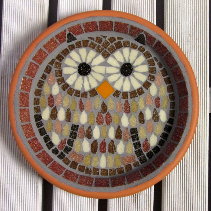 Tawny Owl Mosaic Garden Yard Bird Water Bath Ornament by JoSaraUK