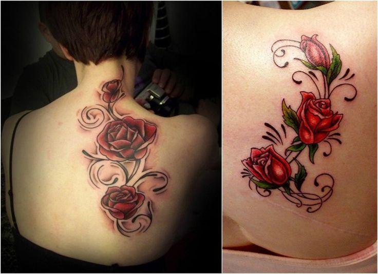 Rosenranke Tattoo farbig - Rote Rosen
