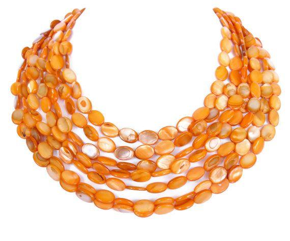 Orange Bridal Jewelry Graduated Statement by WildflowersAndGrace