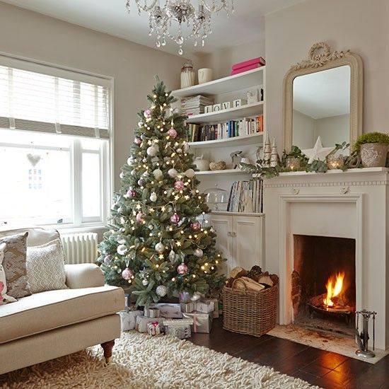 Cream living room with Christmas tree | Living room decorating | Ideal Home | Housetohome.co.uk