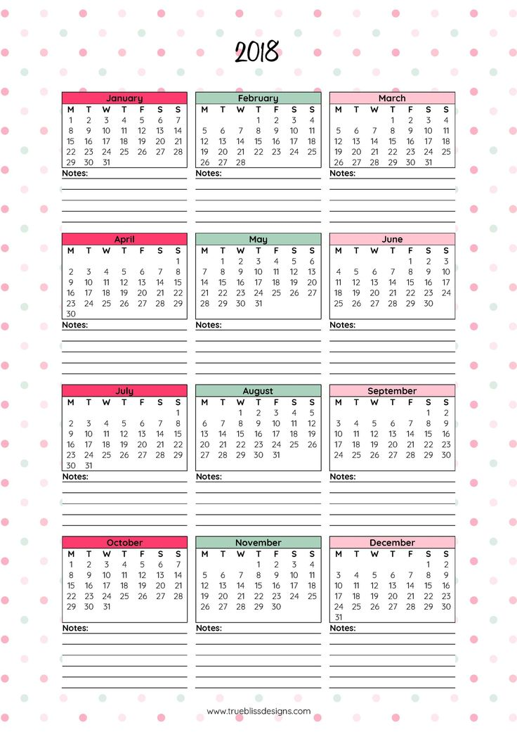 Download your free 2018 Year at a Glance printable calendar now! Available in A4, Letter and A5 size. For more freebies, visit www.trueblissdesigns.com.