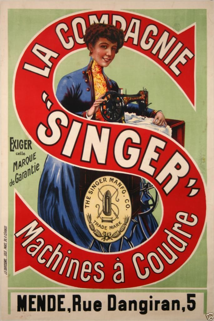 affiche ancienne machine a coudre singer vintage poster sewing machine mende machine a. Black Bedroom Furniture Sets. Home Design Ideas