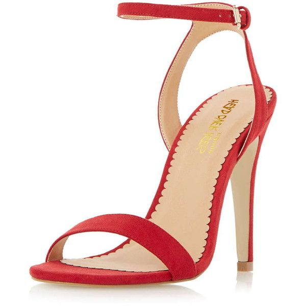 Dorothy Perkins MADAMHigh Heel Strappy Sandals ($69) ❤ liked on Polyvore featuring shoes, sandals, red, red strappy sandals, red shoes, strap shoes, strappy shoes and slim shoes