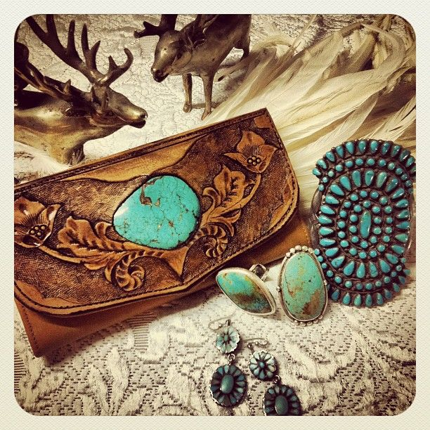 Carved wallet with turquoise stone by Buffalo Girl