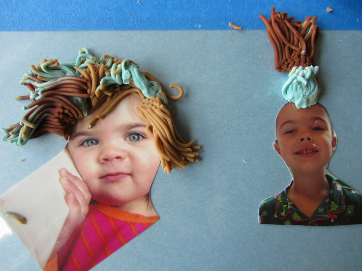 I LOVE this idea!!! Use Playdough to make silly hair on pictures of family members.