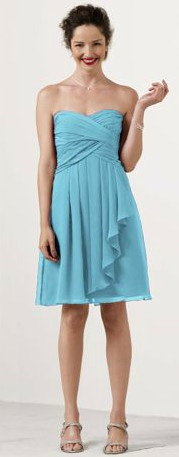 Possible color for my bridesmaids' dresses.  David's Bridal #bridesmaid dress in Pool #blue #DBBridalStyle
