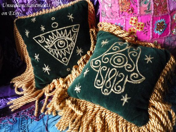 Mystic Gypsy Throw Pillows - Bohemian, Vintage, Green Velvet, Hamsa, Evil Eye, Set of 2, Magickal Lounge, Gypsy Soul, Upcycle, Hand Painted