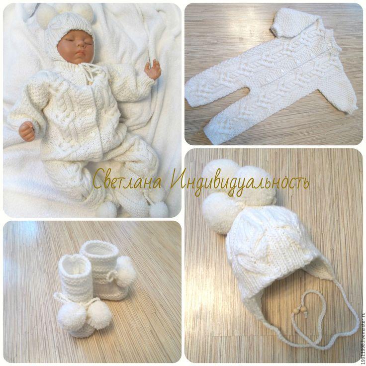 Купить Комплект Сердечко - белый, абстрактный, для новорожденного, для новорожденных, одежда для новорожденных, косы, араны