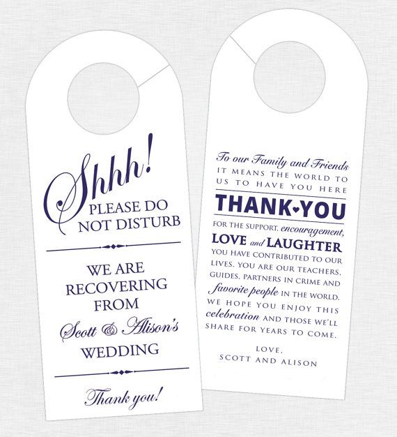 Set of 10 - Double-Sided Door Hanger for Wedding Hotel Welcome Bag - Do Not Disturb - Door Hanger and Thank You - Destination Wedding