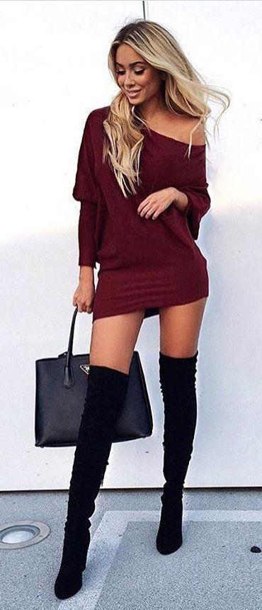 Burgundy Off Shoulder Dress + Black OTK Boots