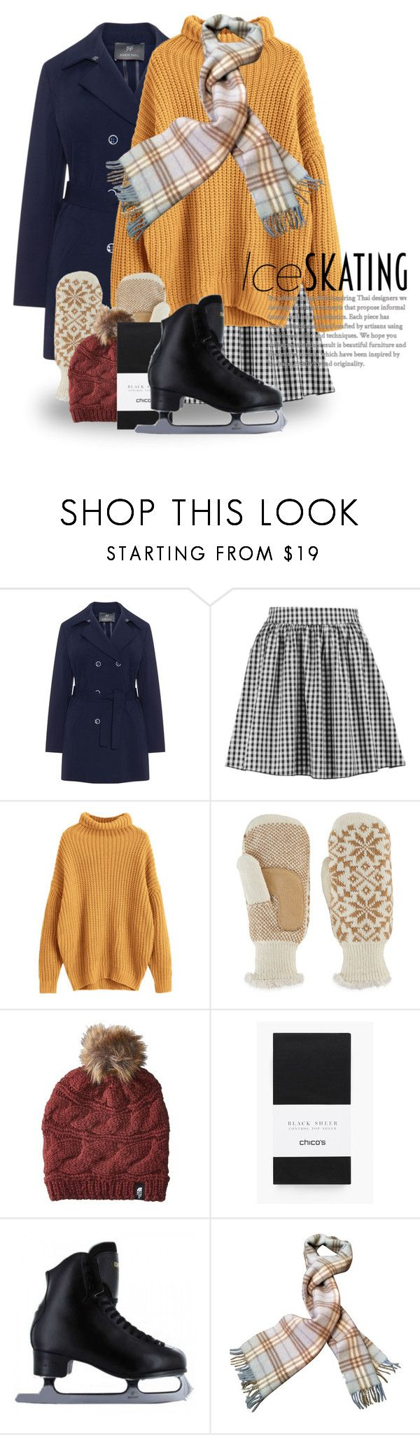 """""""Skate Date: Ice Skating Outfit 5052"""" by boxthoughts ❤ liked on Polyvore featuring Boohoo, Isotoner, The North Face, Chico's, Burberry and iceskatingoutfit"""