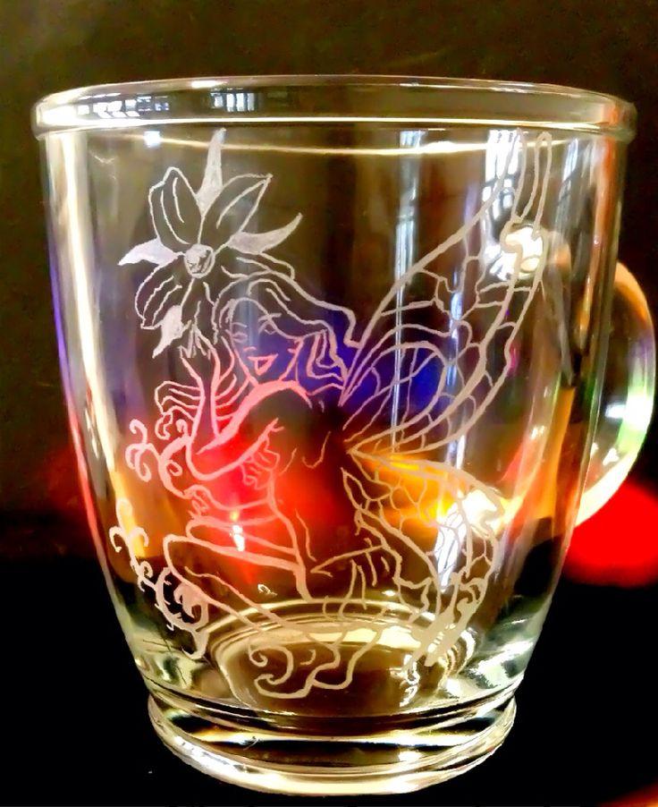 Fata incisione su vetro bicchiere