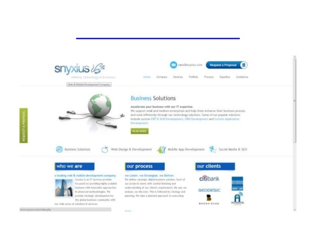 Snyxius Technologies provides professional quality solutions and services that include web design, web development, software development, graphic design, application development, internet marketing, search engine optimization and offshore staffing.