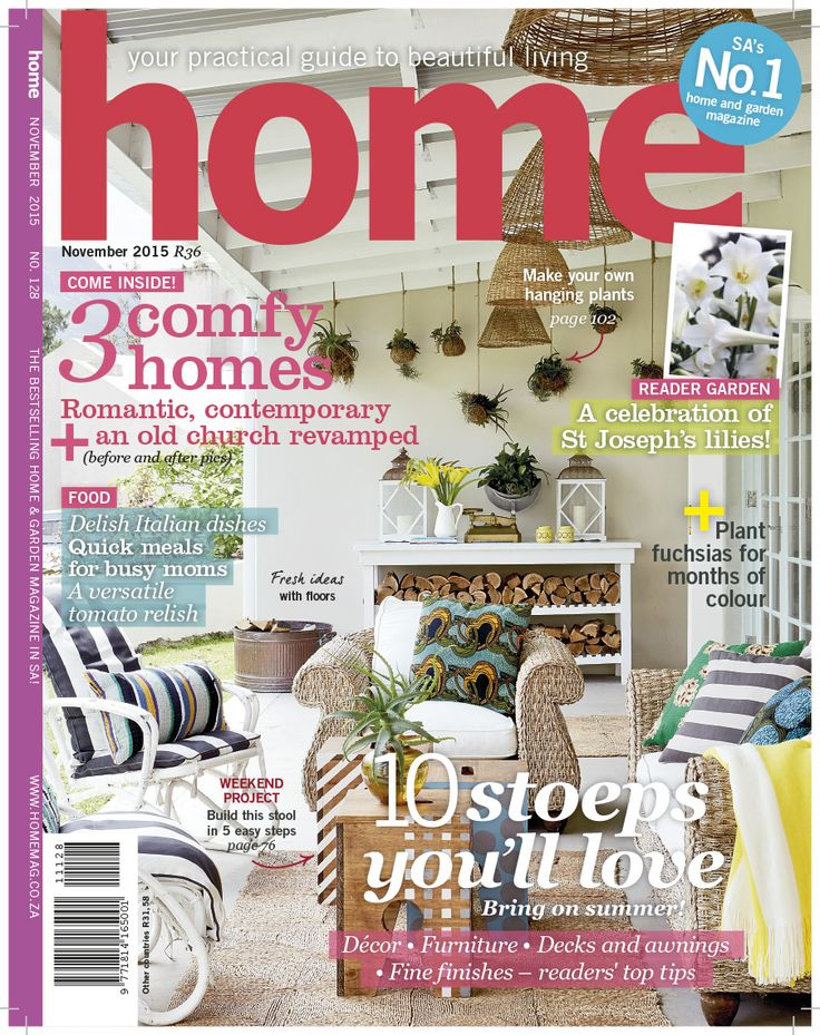 Our November issue is on shelves NOW! Here's what you can expect:10 stoeps you'll love – bring on summer; we show 3 comfy homes; great weekend DIY projects; fresh ideas with floors; a reader garden with a bounty of St Joseph's lilies for friends. PLUS delicious dishes filled with Italian flavour!  Get 2 FREE digital magazines with your digital subscription - http://bit.ly/1KjdD0s