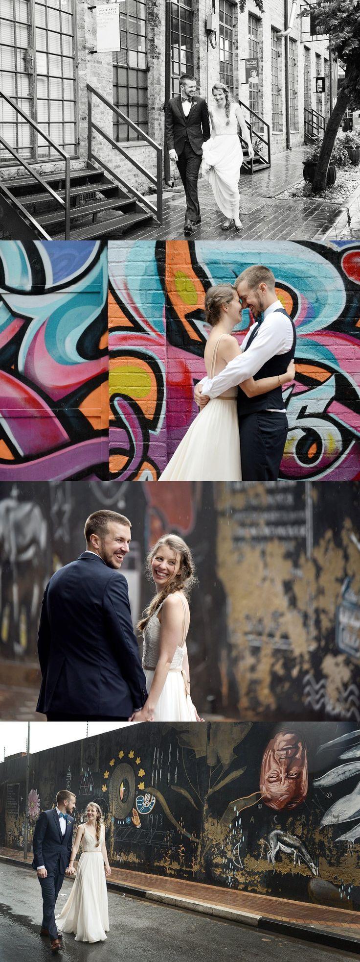 Jason & Nicole's Joburg city wedding. | Runaway Romance| Full of Maboneng street art, roof top views, Hand made decor & pops of Shweshwe.