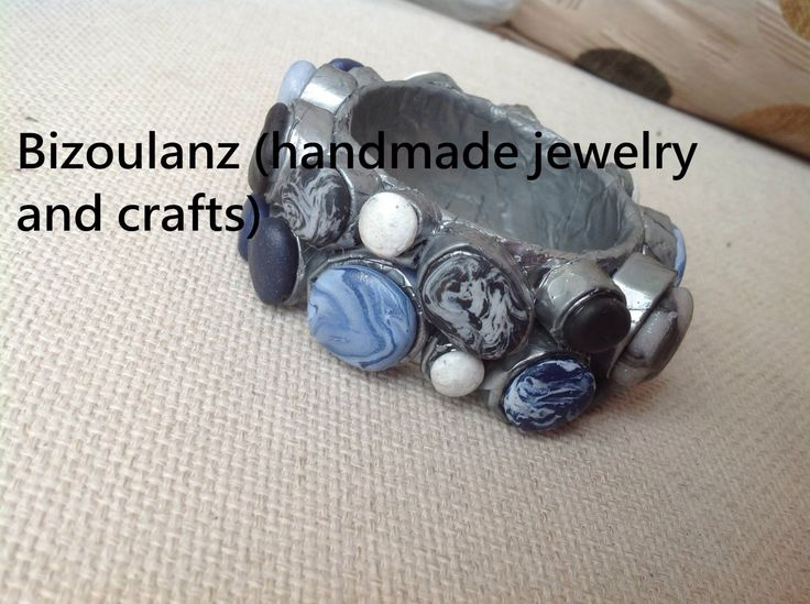 Papier mache bangle with polymer clay, modern combination of silver, black, white, blue