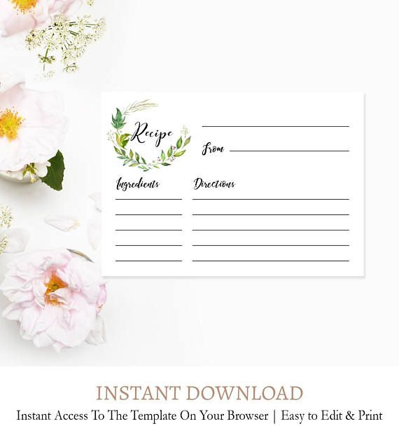 Greenery Recipe Template Green Wreath Recipe Card Template Etsy Bridal Recipe Cards Bridal Shower Recipes Cards Recipe Cards Template