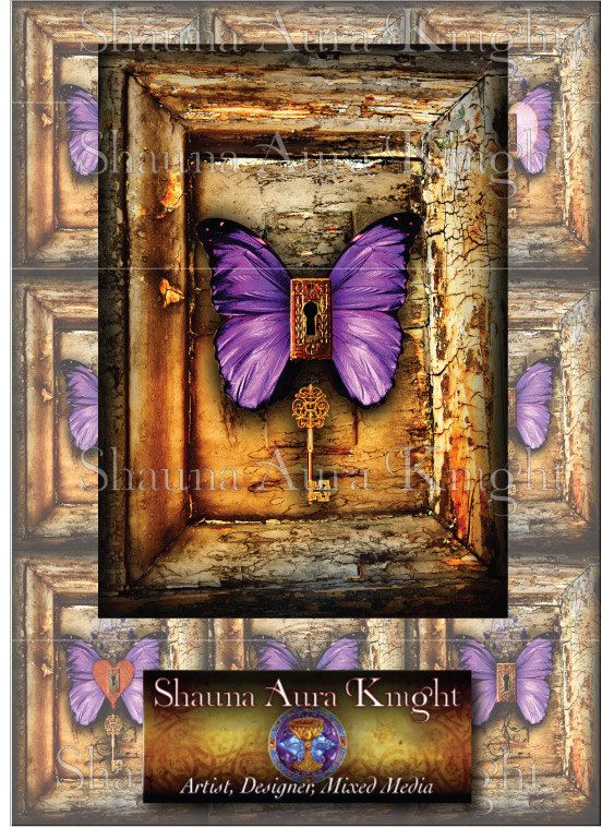 Purple Butterflies with Keys & Keyholes ATC 2.5 x 3.5 Inch Digital Collage Instant Download Printables Scrapbook Antique Paper Grunge Cards
