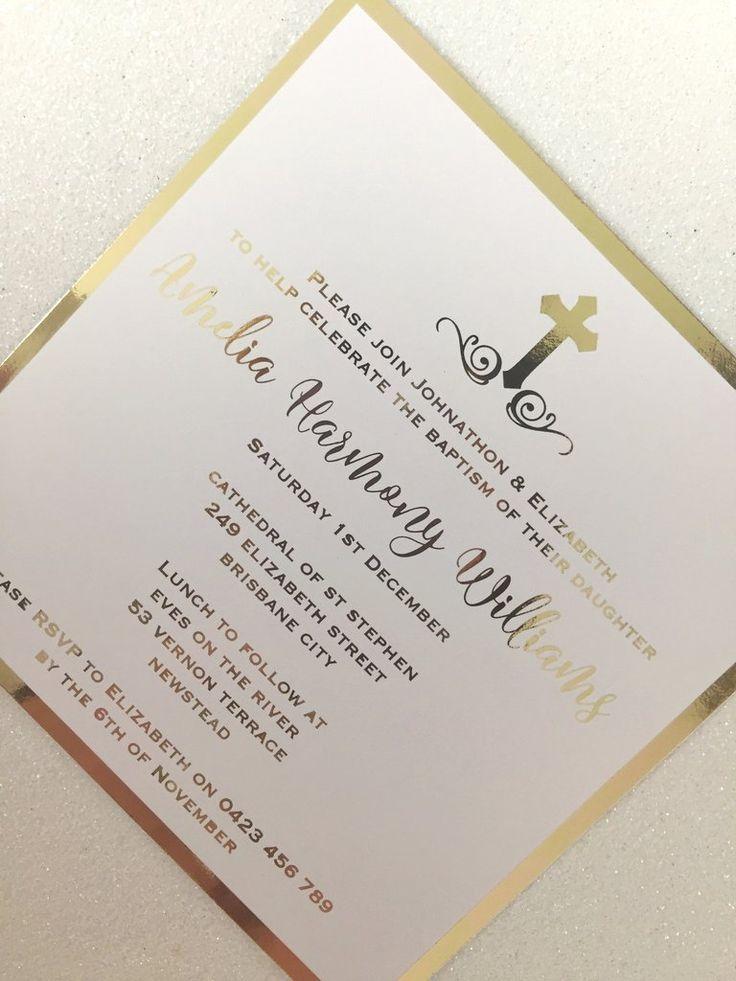 Christening Invitation, Baptism Invitation, Gold Foil Invitation
