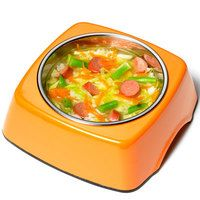 Halloweenie Stoup -       1 tablespoon extra-virgin olive oil (EVOO)      1/4 head green cabbage, shredded      1 - 2 carrots, grated      1/3 cup green beans (a generous handful), coarsely chopped      1 pinch ground turmeric      1 beef frank, sliced      2 cups chicken stock or water      1 cup cooked rice