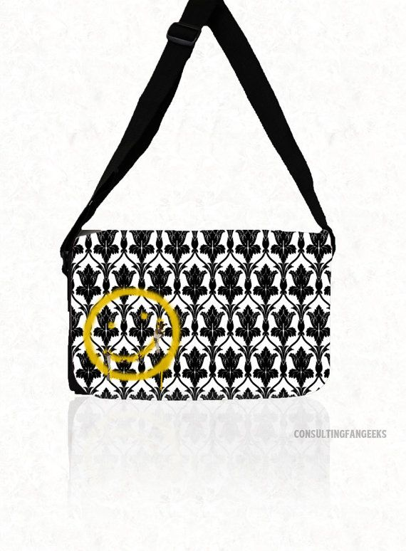 SHERLOCK BBC Bored Smiley  Medium  Messenger by ConsultingFanGeeks, $37.98