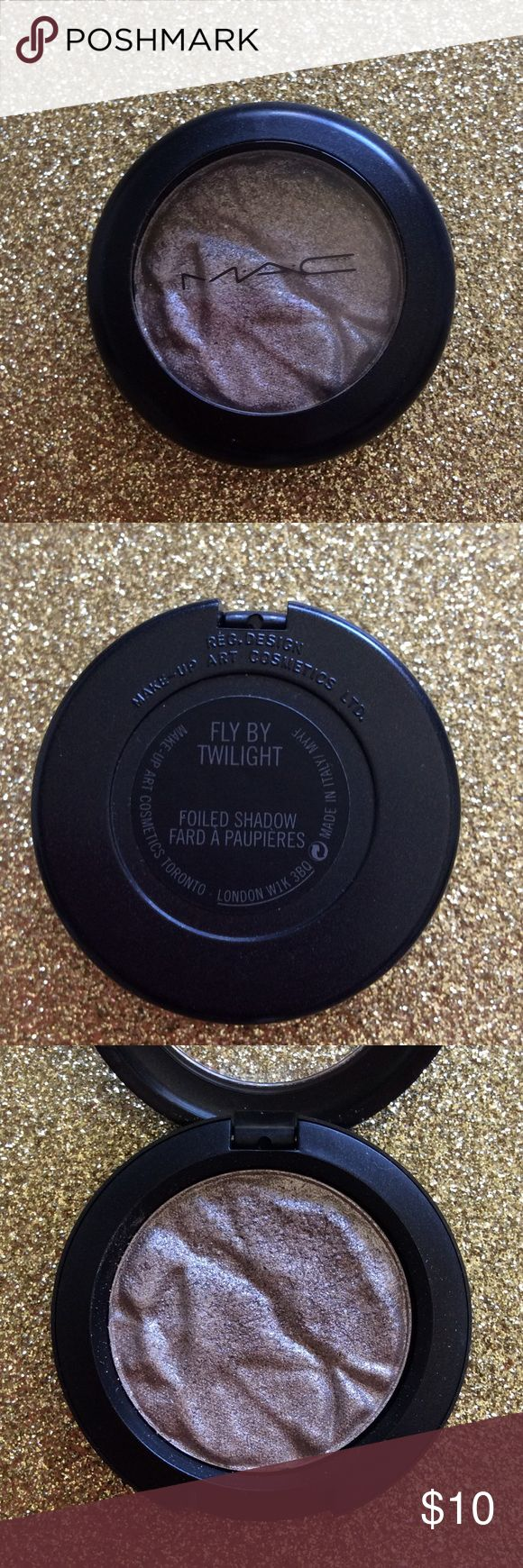 MAC Cosmetics -Fly By Twilight Foiled Shadow MAC Cosmetics Foiled Shadow a wet/dry formula with a metallic finish, lightweight. Color: Fly By Twilight. Used a couple of times (I tried to make it work with my tones. Too Metallic for me.) MAC Cosmetics Makeup Eyeshadow