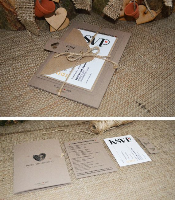 Kraft Wedding Invitation / Rustic Wedding Invitation Suite with twine - 'Rustic Decadence'