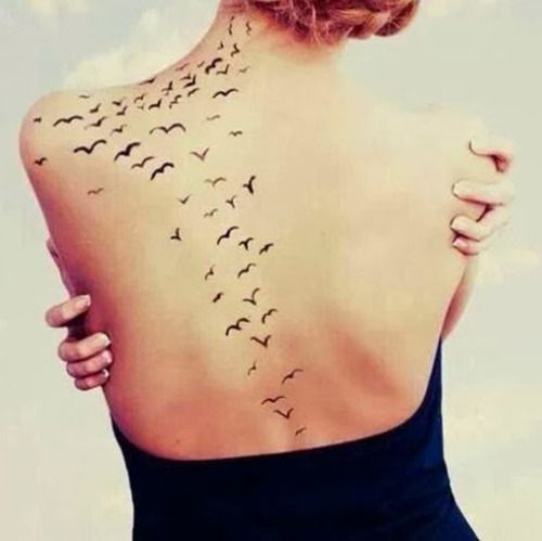 Little tattoo of birds flying all over the back, nape and shoulder.