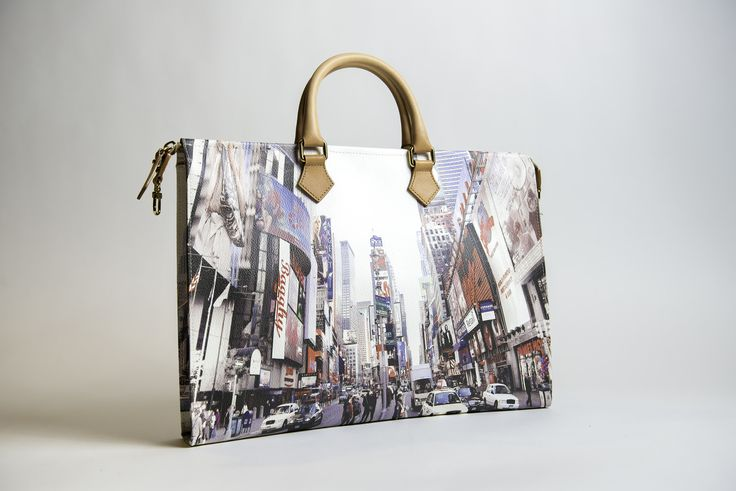 Brief bag, business bag, laptop bag - Tanya Times Square - Bagghy PVC UV print with genuine leather handle