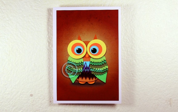 Limited edition Art print Colorful Owl by thesunandtheturtle on Etsy, $2.50