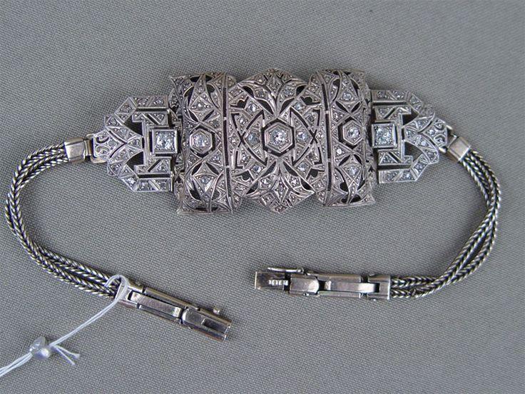 Антиквариат. старинный Браслет, серебро 875 пробы, бриллиант