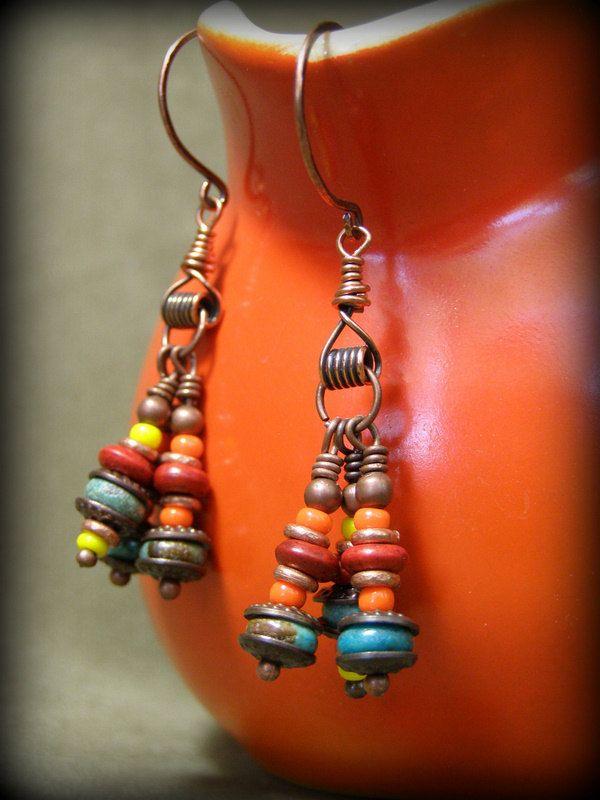 Turquoise Earrings Bohemian Tribal Earrings African Beaded Earrings Native American Inspired Earrings Copper Earrings (34.00 USD) by StoneWearDesigns - handmade - jewelry - jewellery - artisan - etsy