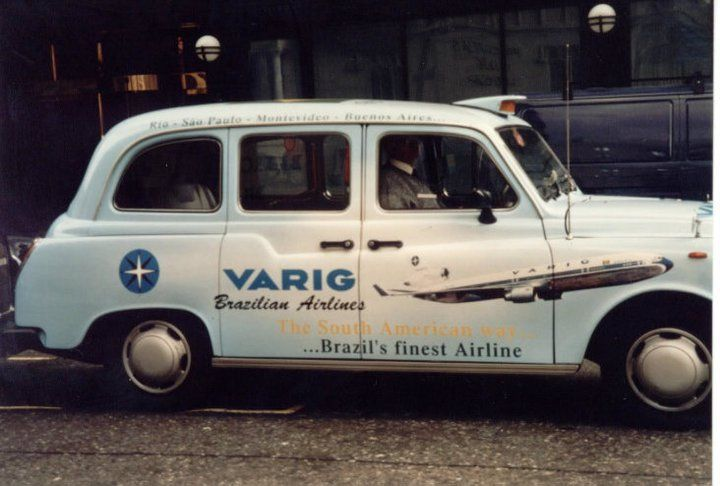London taxi advertising Varig Airlines