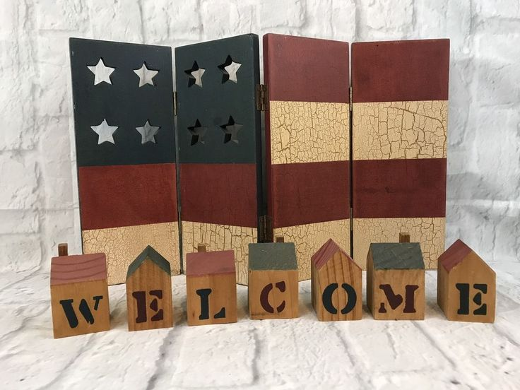 Wooden WELCOME House Blocks And Wooden Folding American Flag Gift Collectible   | eBay