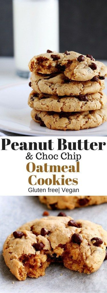 Delicious and healthy Peanut Butter & Choc Chip Oatmeal Cookies that ...