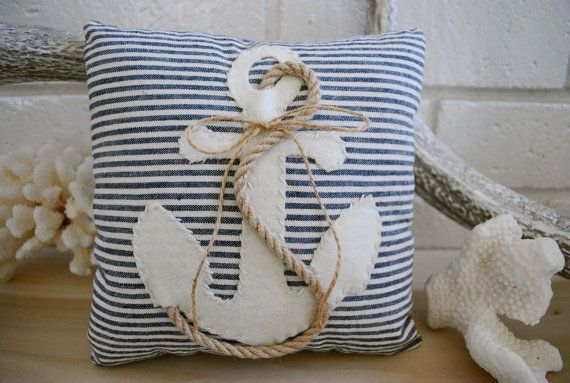 Blue and white striped nautical pillow.
