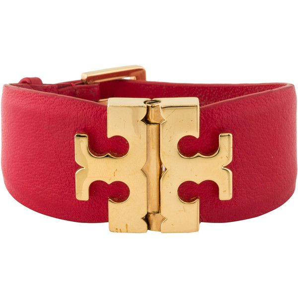Pre-owned Tory Burch Wide T Hinge Bracelet (1,485 MXN) ❤ liked on Polyvore featuring jewelry, bracelets, gold, hinged bangle, hinged bracelet, red jewelry, tory burch and pre owned jewelry