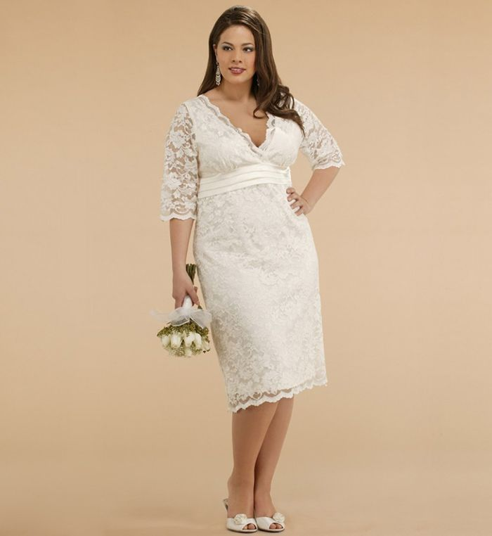 Vestidos para noivas plus size - curto com buque