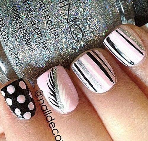 Black White Pink Nail Art Designs: Silver, Pink, Black And White Nails Design.