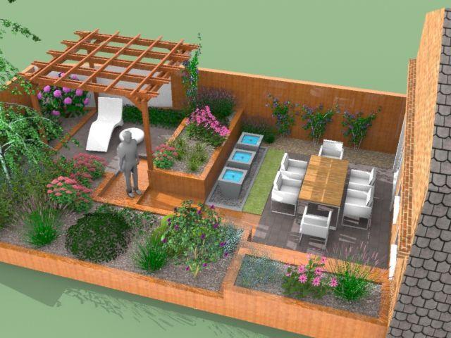 Návrh malé zahrady u rodinného domu v Londýně, který je součástí řadové zástavby.