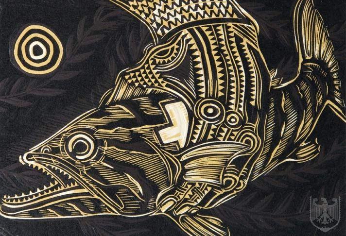 Michel Tuffery, Tangaroa Marble Hapuka Tasi, woodcut.