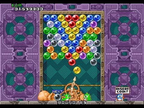 Puzzle Bobble -- I spent a lot of quarters/tokens on this game! LOL It was addicting and fun. Just clear the board, no opponents to face or any storyline. It's challenging!