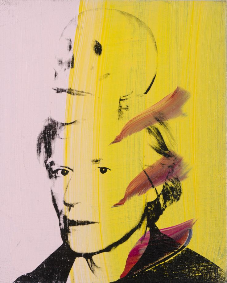 """Andy Warhol (American, 1928 – 1987) / """"Self Portrait with Skull,"""" 1978 / Silkscreen ink on synthetic polymer paint on canvas / Des Moines Art Center Permanent Collections; Gift of Roy Halston Frowick, New York, 1986.34 / Photo Credit: Rich Sanders, Des Moines"""