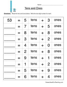 Free Tens and Ones Place Value Worksheet. Read the tens and ones below. Write the two-digit number for each.Brought to you by Have Fun Teaching!