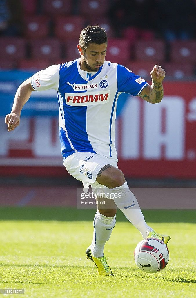 Grasshopper Club midfielder Frank Feltscher controls the ball during the Swiss Super League football match between Grasshopper Club and BSC Young Boys held at the Letzigrund stadion on May 4, 2014 in Zurich, Switzerland.