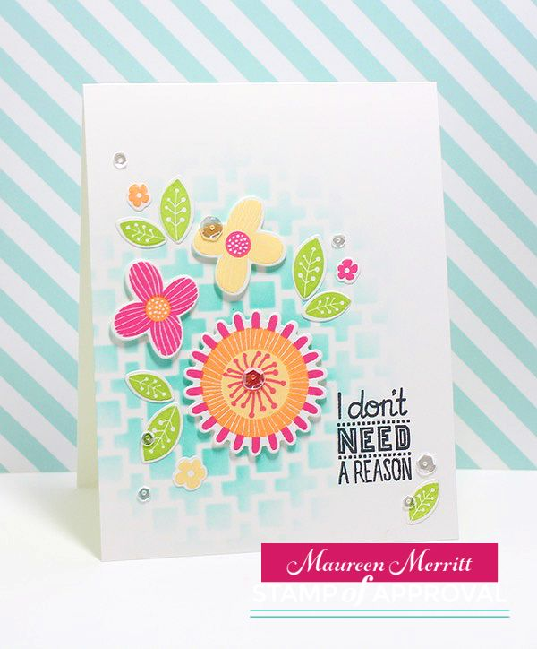 Card created by Maureen Merritt for The Perfect Reason Stamp of Approval collection available on Feb. 8th featuring the Perfect Reason stamp set & dies and the Mod Squared Stencil.