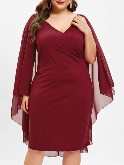 Mother Christmas Outfits Plus Size.Plus Size Surplice Neck Overlay Dress Red Wine 4x 2019