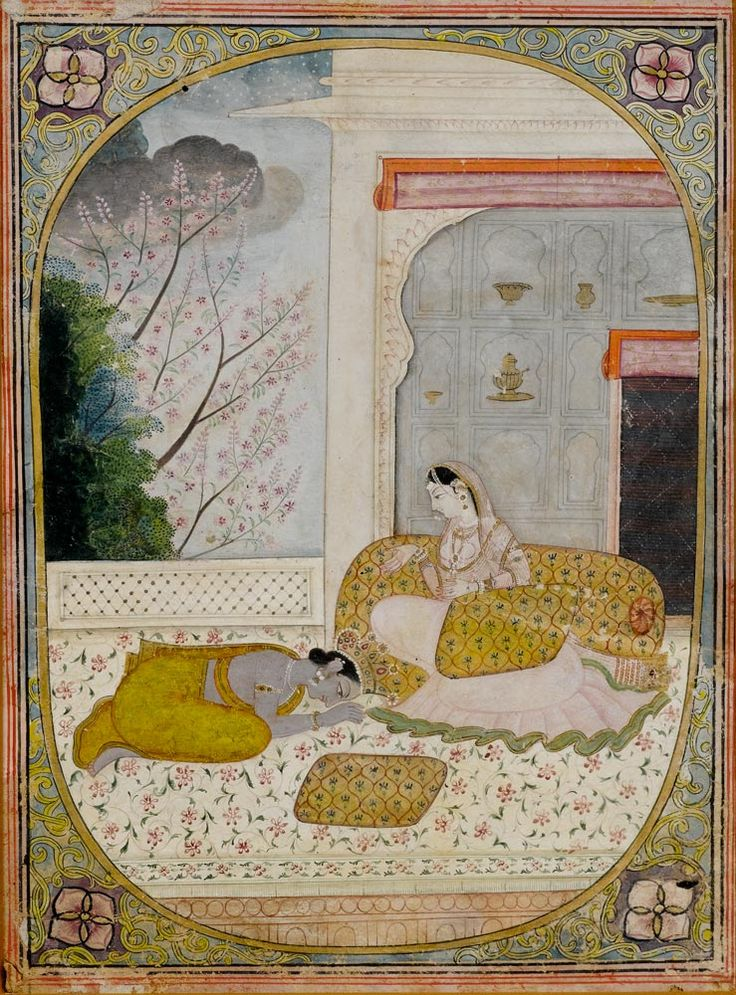 An illustration to a Nayika series: Krishna prostrate before Radha. (Possibly Khandita Nayika.) India, Kangra, circa 1810-1820, Full view (click & enlarge): https://www.kollerauktionen.ch/CatCache/catcache.3/pictures/61459/61459_l_1.jpg
